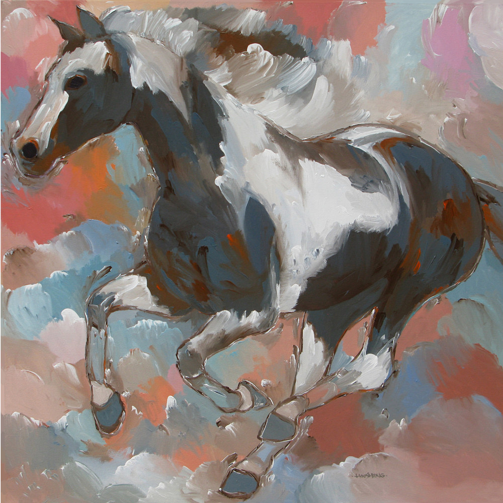 Pinto horse,36x36 inches, acrylic on canvas by Hooshang Khorasani