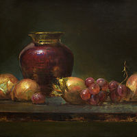 Oil painting Grapes and Red by Julie Gladstone
