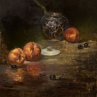 Oil painting Peaches by Julie Gladstone