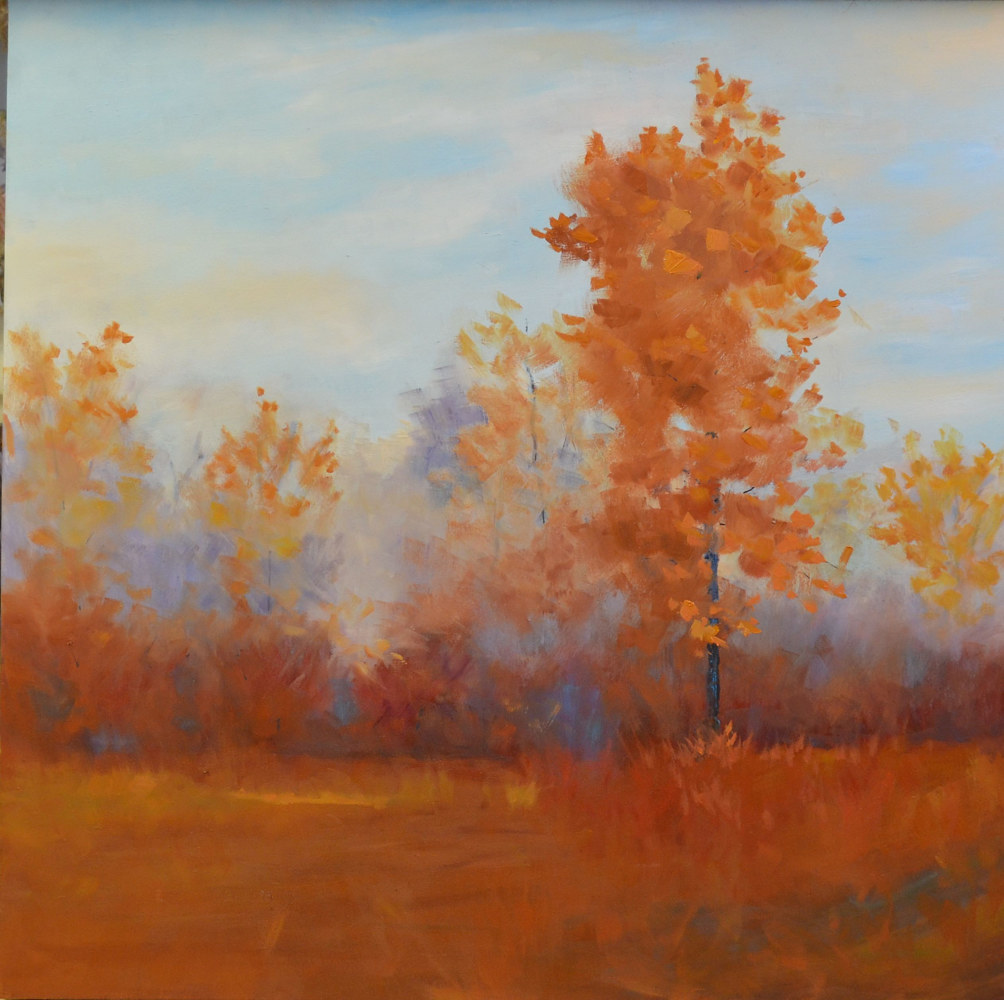 Oil painting Drifting Orange by Patricia Savoie