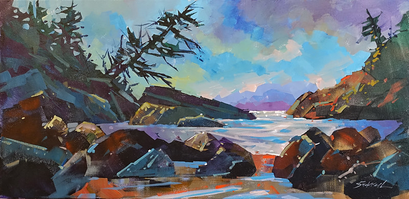 Crystal Beach Evening   Acrylic 18x36 2017 - Copy by Brian  Buckrell