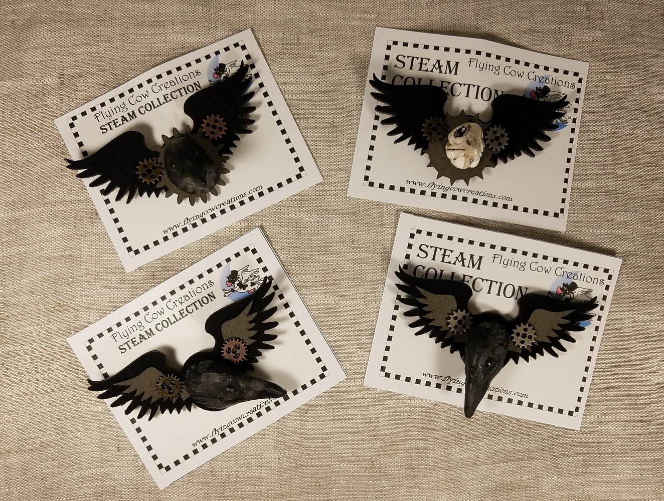 Crow pins by Valerie Johnson