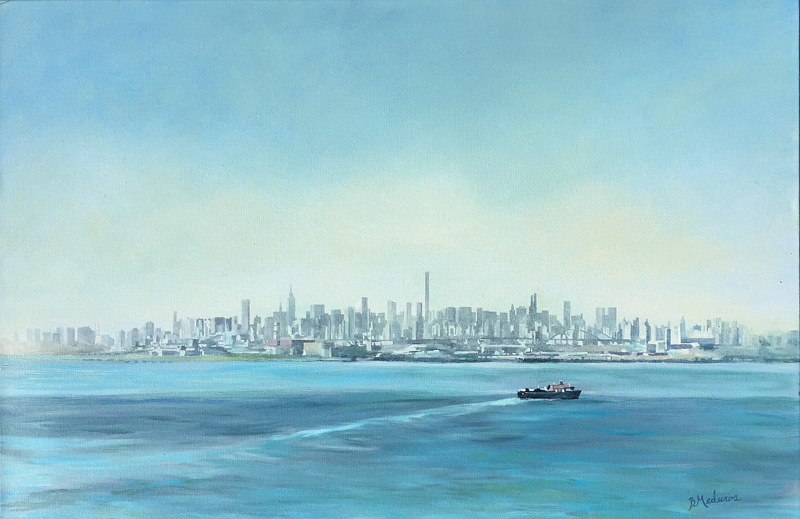 Oil painting NYC View from the Whitestone by Betty Ann  Medeiros