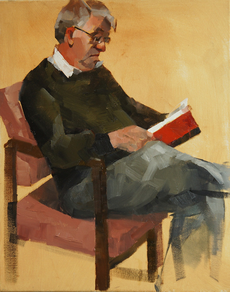 Oil painting Reading by Eunice Sim