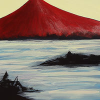 Acrylic painting Red Fuji #2 48 x 36 inches acrylic 2012 by David Tycho