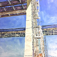 Oil painting Tappan Zee Scaffolding by Edward Miller