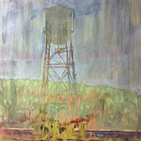 Oil painting Watertower Ghost by Edward Miller