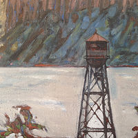 Oil painting Watertower Keeping Watch by Edward Miller