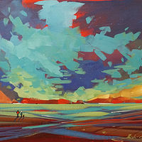 Sunset Watching  Acrylic 12x16 2017 by Brian  Buckrell
