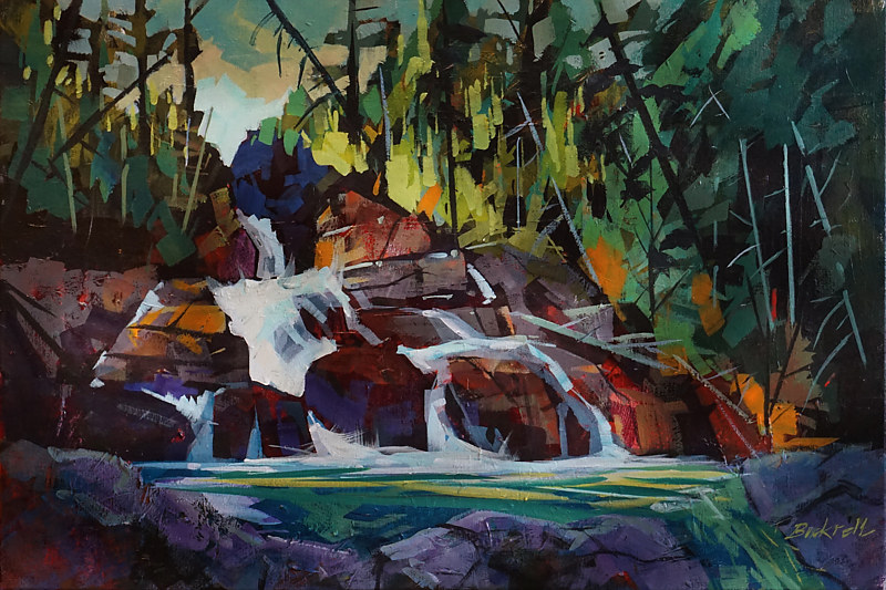 From the Top Myra Falls  Acrylic 20x30 2017 by Brian  Buckrell