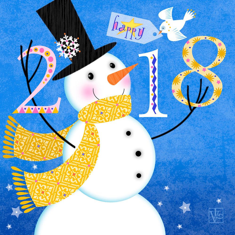 Happy New Year 2018 by Valerie Lesiak