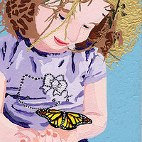 Acrylic painting Amanda Butterfly-01 by Phil Cummings
