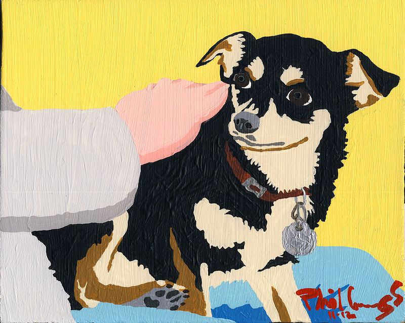 Acrylic painting Chico (yellow) by Phil Cummings