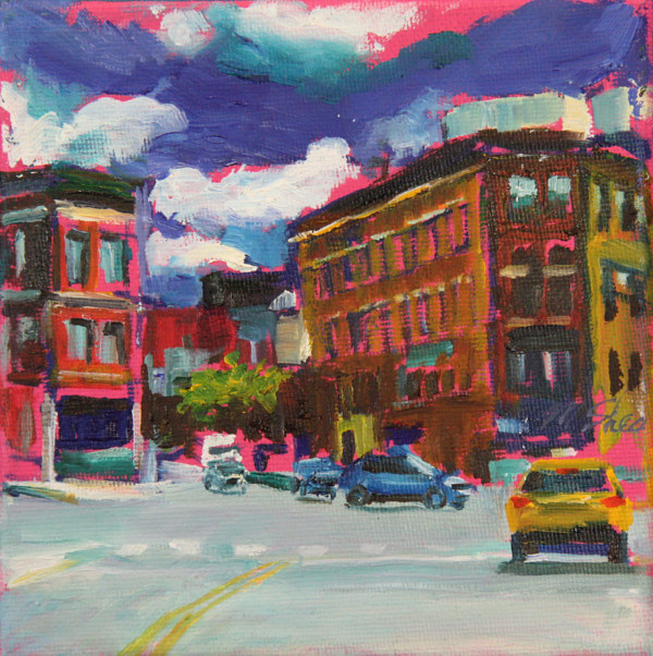 Oil painting belmont, lincoln and ashland  by Madeline Shea