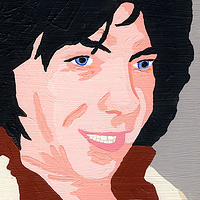 Acrylic painting Peter Bardens by Phil Cummings