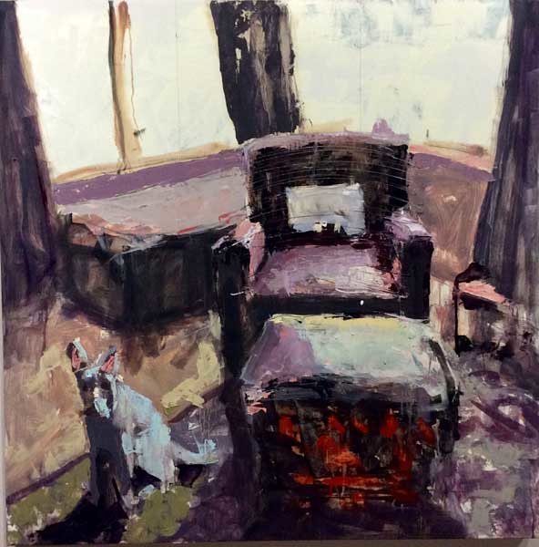 Oil painting Miki and the Leather Chair by William Sharp