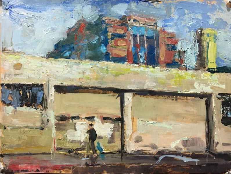Oil painting PDX Street Scene by William Sharp