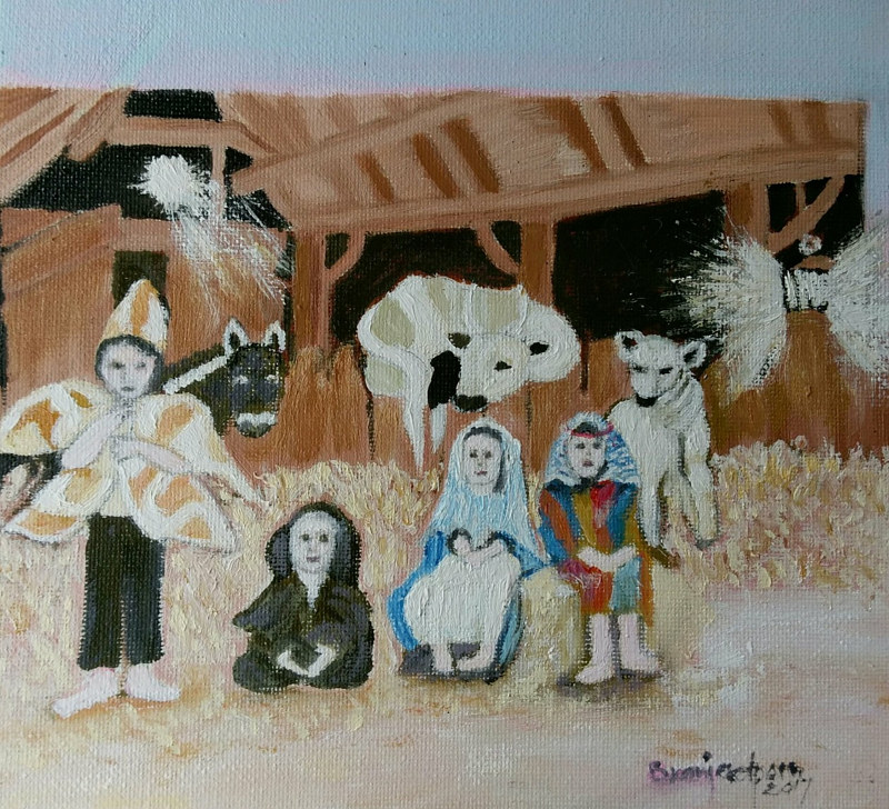 Oil painting Christmas Nativity Gracie as The Star of Bethlehem 2017 Oil on canvas by Gwenda Branjerdporn