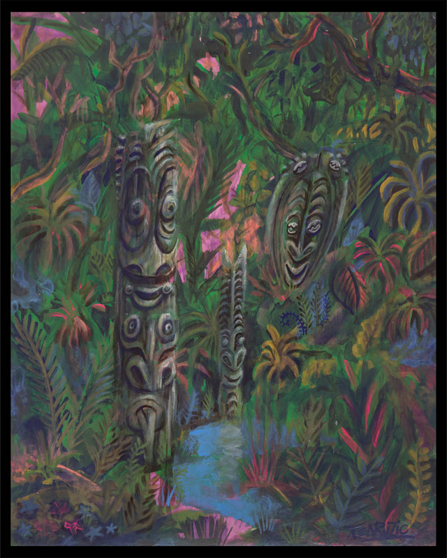 Acrylic painting Jungle Pool by Kenneth M Ruzic