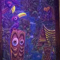 Interior shot of Howie's Tiki with violet illuminated Kinny paintings watching over the visitors! by Kenneth M Ruzic