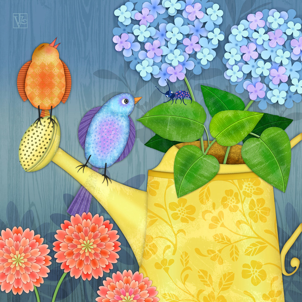 Two Birds on a Watering Can by Valerie Lesiak