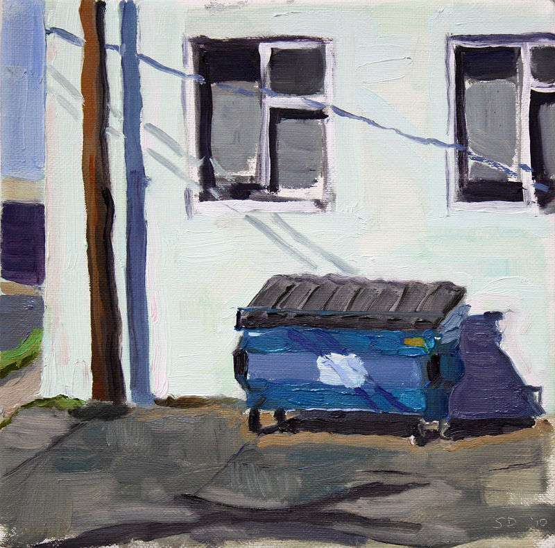 Oil painting Blue Bin by Shawn Demarest