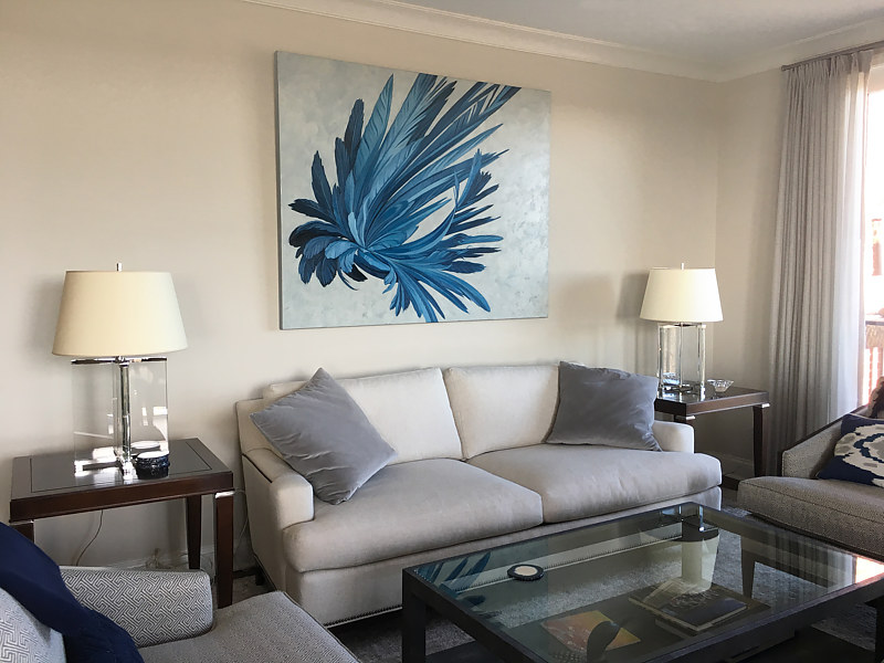 Blue Hybrid #2 adds a burst of color and energy to this newly decorated space. by Robert Porazinski