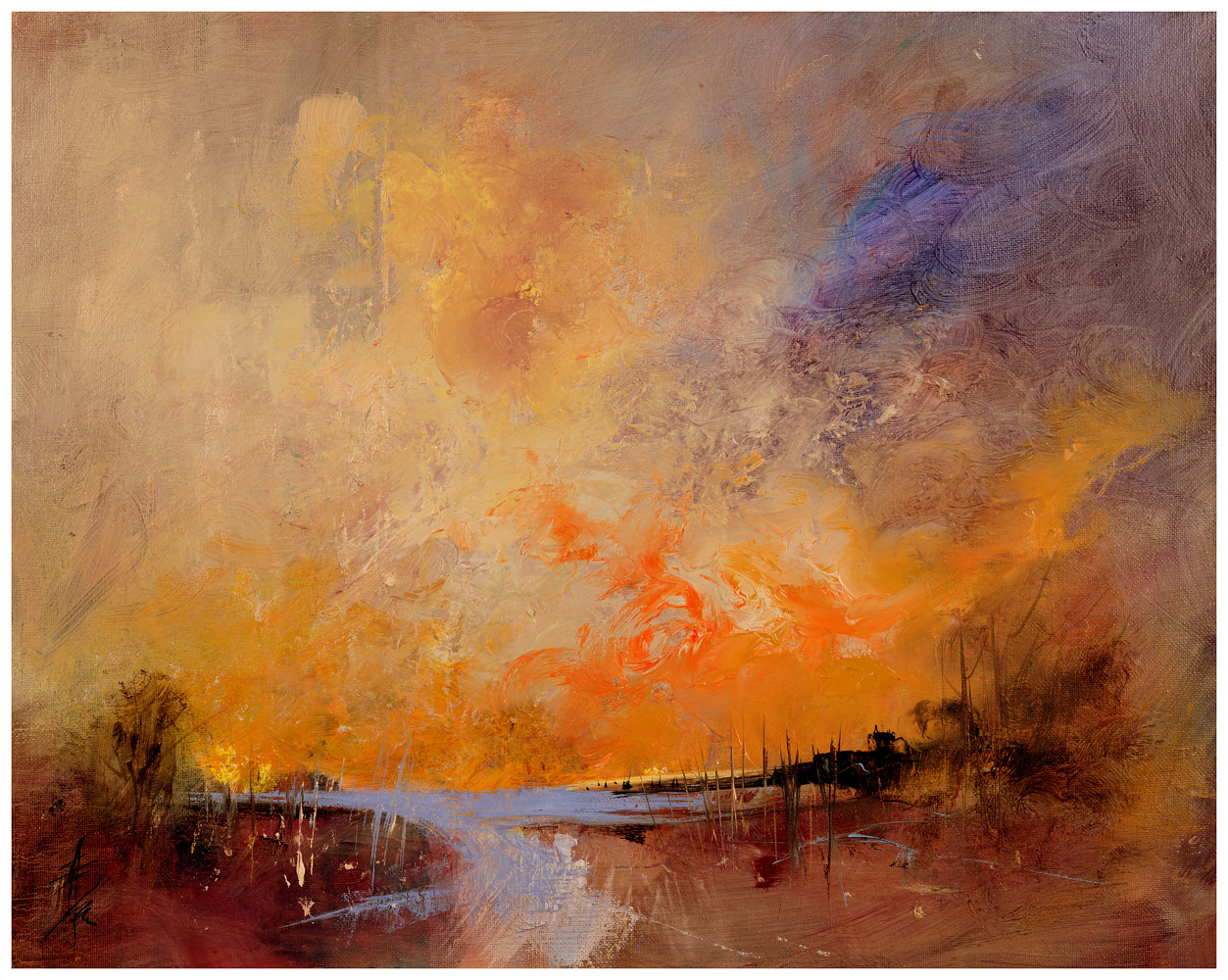 Sky Ablaze, 16x20, oil on box canvas. by Anne Farrall Doyle