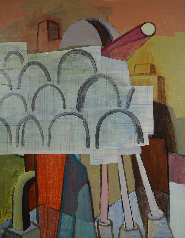 Acrylic painting Aquaducts and Observatories by Graham Hall