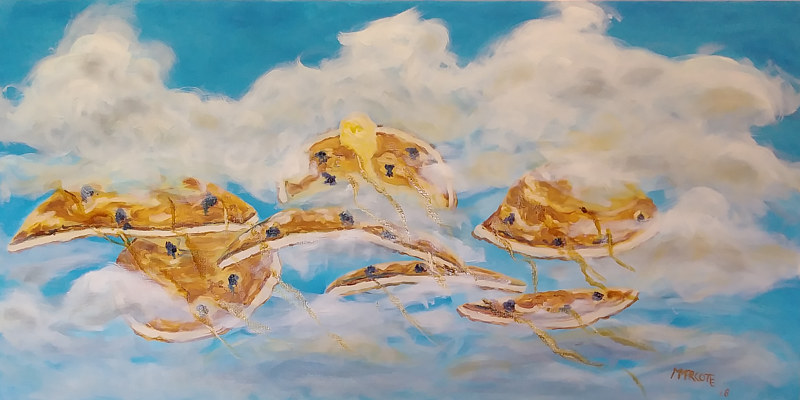 "Oil painting Haiku: Sad low carb diet; Dreaming of blueberry pancakes; Maple syrup rivers"" by Michelle Marcotte"