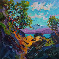 Across to the Mainland  40x40x1.5  2018 by Brian  Buckrell