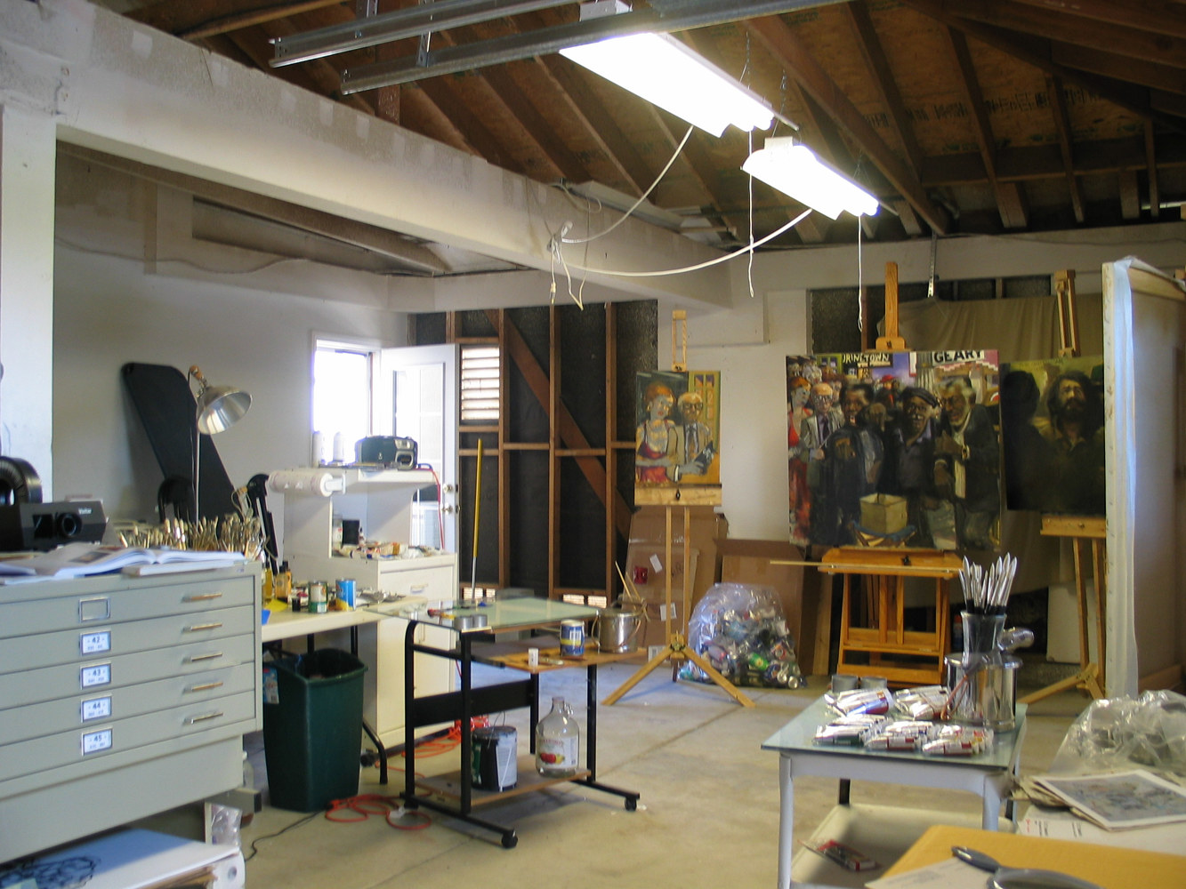 Studio view 4 with painting in progress by Josef-Peter  Roemer