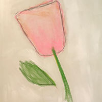 Acrylic painting A Pink Flower by Sarah Trundle
