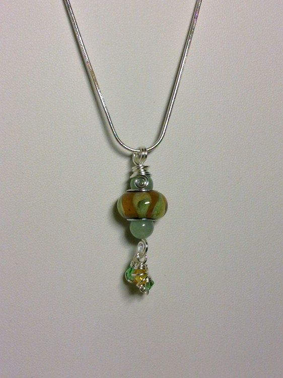 Wire Wrapped Lampwork Bead Pendant by Vicki Allesia
