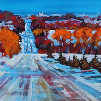Backroad to Collingwood Acrylic 18x24 2013 by Brian  Buckrell