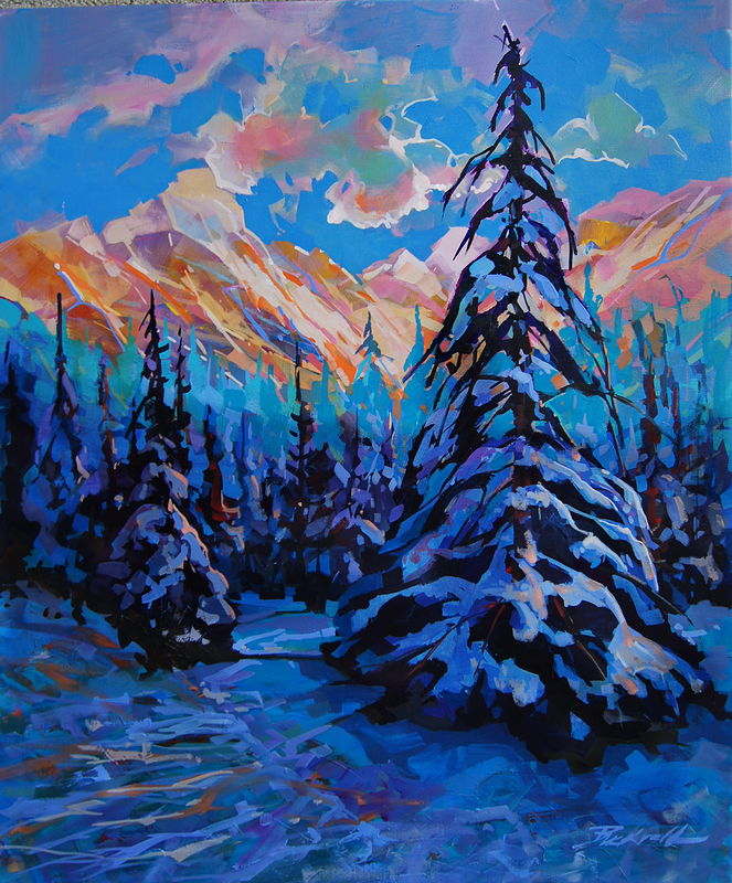 Alpenglo Evening Acrylic 30x36 2012 by Brian  Buckrell