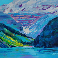 Behind and Above Louise Acrylic 20x30 2010 by Brian  Buckrell