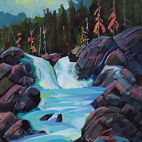 Mountain Watershed  - Acrylic 11x14 2010 by Brian  Buckrell