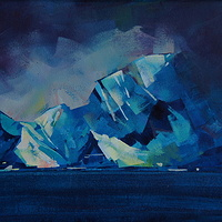 Water Rock and Ice  Acrylic 11x14 2011 by Brian  Buckrell