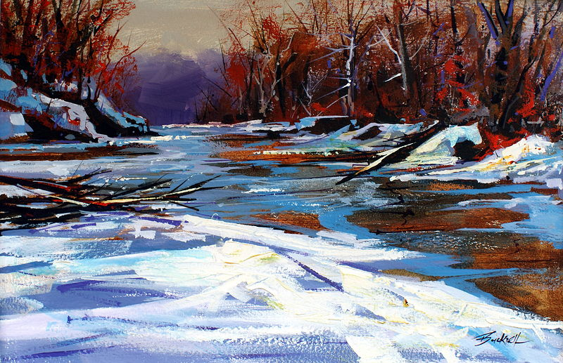 Winter River Acrylic OC 16x24 2009 by Brian  Buckrell