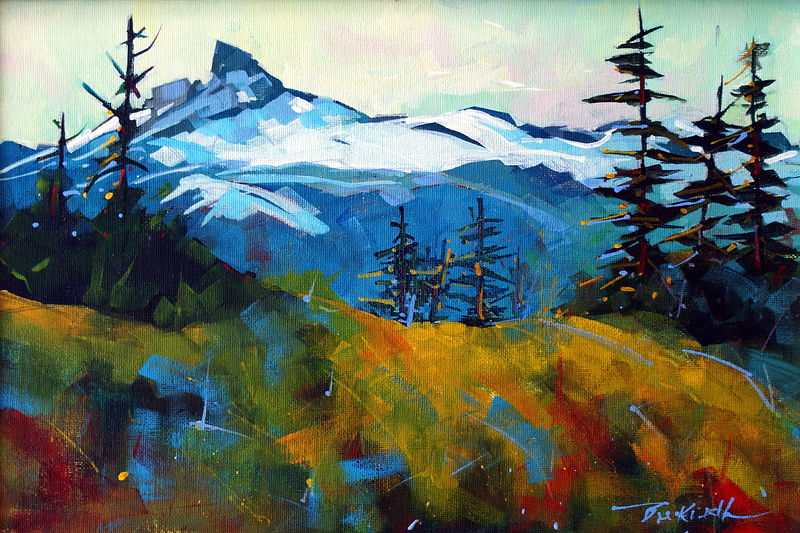 Black Tusk from the Nordic  Venue Whistler Acrylic on Canvas 15x10 2009 by Brian  Buckrell