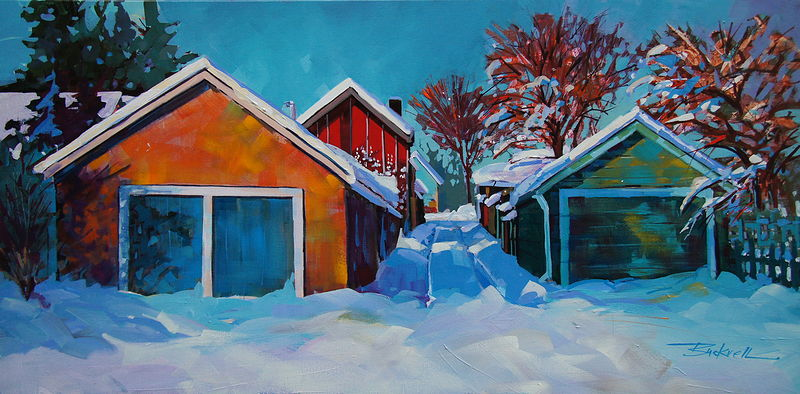 Winter Morning Cumberland  Acrylic 18x36 2009 by Brian  Buckrell