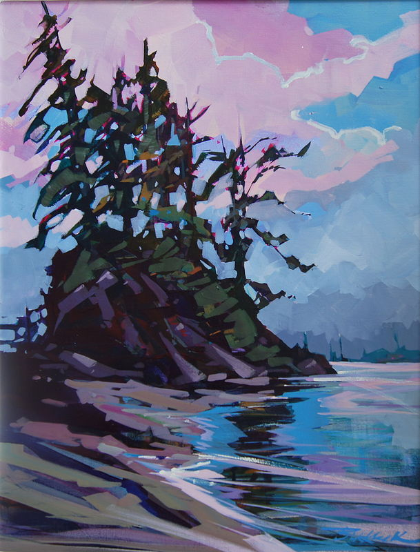 Caulder Point Spring Island Acrylic 18x24 2012 by Brian  Buckrell