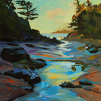 McKenzie Beach Morning 2 Acrylic 18x24 2010 by Brian  Buckrell