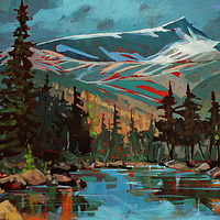 From Hairtrigger Lake, Strathcona Park Acrylic 18x24 2010 by Brian  Buckrell