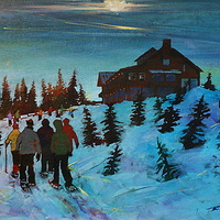 Moon Light Snowshoe Raven Lodge Acrylic on CB 16x20 2008 by Brian  Buckrell
