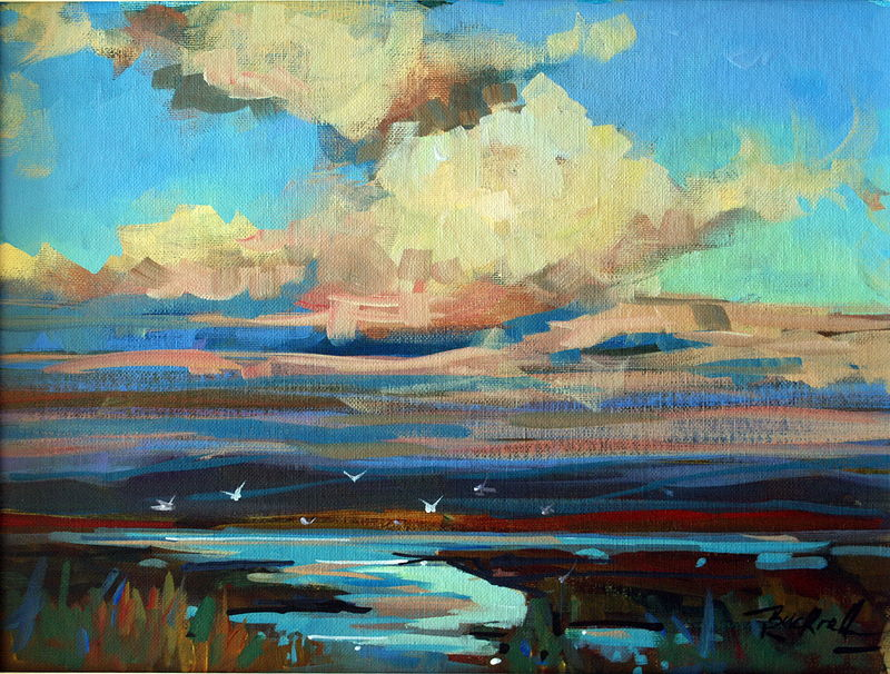 Flight Over The Estuary Acrylic on Canvas 12x16 2009 by Brian  Buckrell