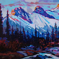 Early Morning Over Canmore Acrylic 24x36 2012 by Brian  Buckrell