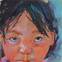 Little Sniffles   Oil 6x8 2012 by Brian  Buckrell