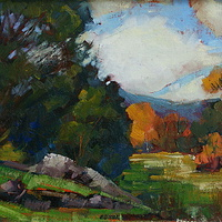 Autumn Afternoon Oil on CB 8x10 2009 by Brian  Buckrell